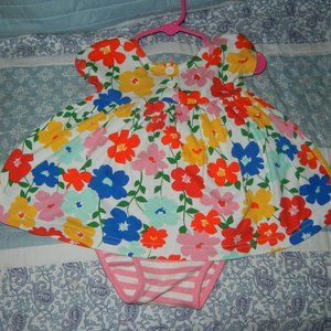 Hanna Andersson Girls Flower Playday dress/panty